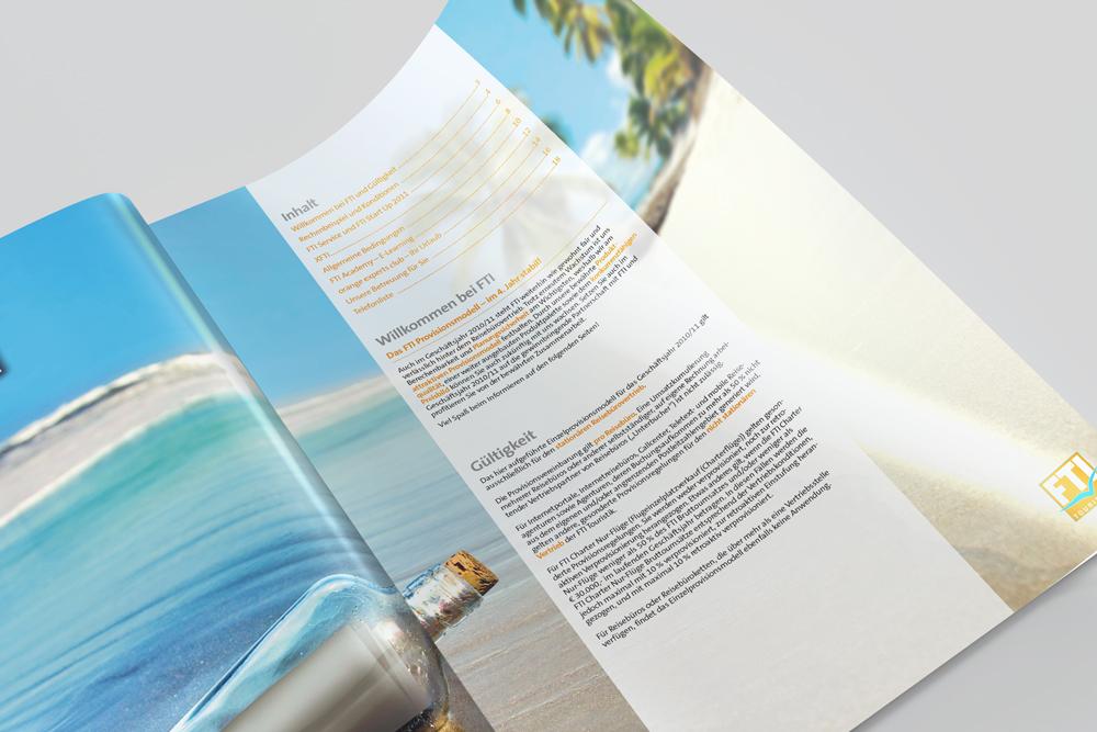 Innenseite der Provisionsbroschüre für FTI Touristik